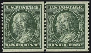Sale Number 905, Lot Number 2420, 1908-09 Washington-Franklin Issues (Scott 331 thru 356)1c Green, Coil (352), 1c Green, Coil (352)