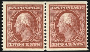 Sale Number 905, Lot Number 2421, 1908-09 Washington-Franklin Issues (Scott 331 thru 356)2c Carmine, Coil (353), 2c Carmine, Coil (353)