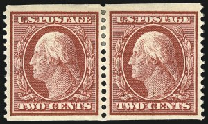 Sale Number 905, Lot Number 2422, 1908-09 Washington-Franklin Issues (Scott 331 thru 356)2c Carmine, Coil (353), 2c Carmine, Coil (353)