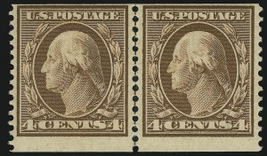 Sale Number 905, Lot Number 2425, 1908-09 Washington-Franklin Issues (Scott 331 thru 356)4c Orange Brown, Coil (354), 4c Orange Brown, Coil (354)