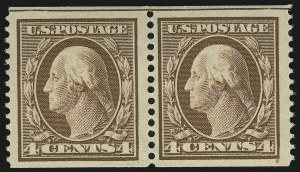 Sale Number 905, Lot Number 2426, 1908-09 Washington-Franklin Issues (Scott 331 thru 356)4c Orange Brown, Coil (354), 4c Orange Brown, Coil (354)