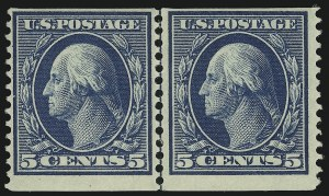 Sale Number 905, Lot Number 2429, 1908-09 Washington-Franklin Issues (Scott 331 thru 356)5c Blue, Coil (355), 5c Blue, Coil (355)
