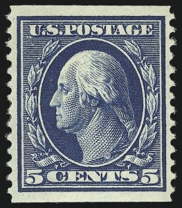 Sale Number 905, Lot Number 2430, 1908-09 Washington-Franklin Issues (Scott 331 thru 356)5c Blue, Coil (355), 5c Blue, Coil (355)