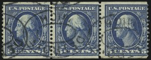 Sale Number 905, Lot Number 2431, 1908-09 Washington-Franklin Issues (Scott 331 thru 356)5c Blue, Coil (355), 5c Blue, Coil (355)