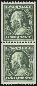 Sale Number 905, Lot Number 2472, Washington-Franklin Issues (Scott 367 to 396)1c Green, Coil (385), 1c Green, Coil (385)