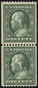 Sale Number 905, Lot Number 2473, Washington-Franklin Issues (Scott 367 to 396)1c Green, Coil (385), 1c Green, Coil (385)