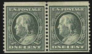 Sale Number 905, Lot Number 2476, Washington-Franklin Issues (Scott 367 to 396)1c Green, Coil (387), 1c Green, Coil (387)