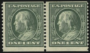 Sale Number 905, Lot Number 2477, Washington-Franklin Issues (Scott 367 to 396)1c Green, Coil (387), 1c Green, Coil (387)