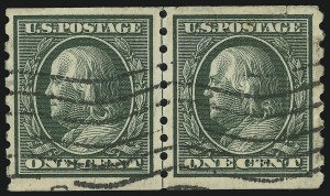 Sale Number 905, Lot Number 2485, Washington-Franklin Issues (Scott 367 to 396)1c Green, Coil (392), 1c Green, Coil (392)