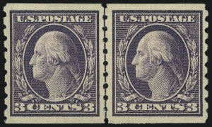 Sale Number 905, Lot Number 2489, Washington-Franklin Issues (Scott 367 to 396)3c Deep Violet, Coil (394), 3c Deep Violet, Coil (394)