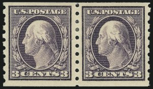 Sale Number 905, Lot Number 2490, Washington-Franklin Issues (Scott 367 to 396)3c Deep Violet, Coil (394), 3c Deep Violet, Coil (394)