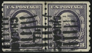 Sale Number 905, Lot Number 2491, Washington-Franklin Issues (Scott 367 to 396)3c Deep Violet, Coil (394), 3c Deep Violet, Coil (394)