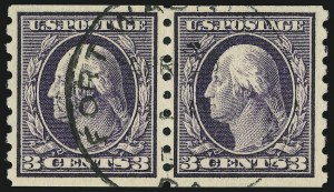 Sale Number 905, Lot Number 2492, Washington-Franklin Issues (Scott 367 to 396)3c Deep Violet, Coil (394), 3c Deep Violet, Coil (394)