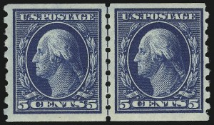 Sale Number 905, Lot Number 2498, Washington-Franklin Issues (Scott 367 to 396)5c Blue, Coil (396), 5c Blue, Coil (396)