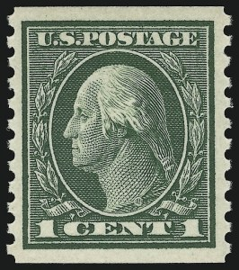 Sale Number 905, Lot Number 2596, Washington-Franklin Issues (Scott 424 to 458)1c Green, Coil (443), 1c Green, Coil (443)