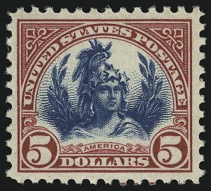 Sale Number 905, Lot Number 2769, 1922-25 Issue (Scott 551 to Later Issues)$5.00 Carmine Lake & Black (573a), $5.00 Carmine Lake & Black (573a)
