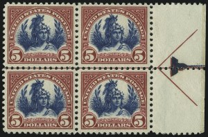 Sale Number 905, Lot Number 2772, 1922-25 Issue (Scott 551 to Later Issues)$5.00 Carmine Lake and Dark Blue (573a), $5.00 Carmine Lake and Dark Blue (573a)