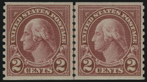Sale Number 905, Lot Number 2789, 1922-25 Issue (Scott 551 to Later Issues)2c Carmine, Joint Line Pair, Ty. I, II (599-599A), 2c Carmine, Joint Line Pair, Ty. I, II (599-599A)