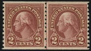 Sale Number 905, Lot Number 2790, 1922-25 Issue (Scott 551 to Later Issues)2c Carmine, Joint Line Pair, Ty. I, II (599-599A), 2c Carmine, Joint Line Pair, Ty. I, II (599-599A)