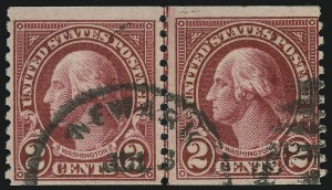 Sale Number 905, Lot Number 2791, 1922-25 Issue (Scott 551 to Later Issues)2c Carmine, Joint Line Pair, Ty. I, II (599-599A), 2c Carmine, Joint Line Pair, Ty. I, II (599-599A)