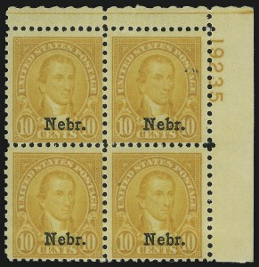 Sale Number 905, Lot Number 2824, 1922-25 Issue (Scott 551 to Later Issues)10c Nebr. Ovpt. (679), 10c Nebr. Ovpt. (679)