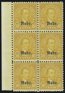 Sale Number 905, Lot Number 2825, 1922-25 Issue (Scott 551 to Later Issues)10c Nebr. Ovpt. (679), 10c Nebr. Ovpt. (679)