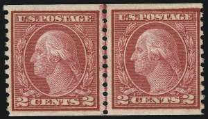 Sale Number 905, Lot Number 3102, Group by Issue2c Carmine Rose, Ty. I, 2c Red Ty. II Coils (453-454), 2c Carmine Rose, Ty. I, 2c Red Ty. II Coils (453-454)