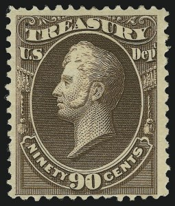 Sale Number 905, Lot Number 3297, Officials90c Treasury, Soft Paper (O113), 90c Treasury, Soft Paper (O113)