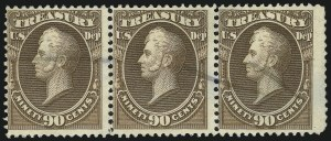 Sale Number 905, Lot Number 3298, Officials90c Treasury, Soft Paper (O113), 90c Treasury, Soft Paper (O113)