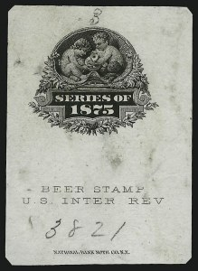 Sale Number 905, Lot Number 3604, Beer Stamps[no denomination] Black, 1875 Beer Stamp, Vignette Essay on India (Turner B-29-A), [no denomination] Black, 1875 Beer Stamp, Vignette Essay on India (Turner B-29-A)