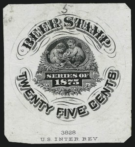 Sale Number 905, Lot Number 3607, Beer Stamps25c Black, 1875 Beer Stamp, Vignette Essay on India (Turner B-29-A), 25c Black, 1875 Beer Stamp, Vignette Essay on India (Turner B-29-A)