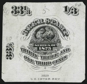 Sale Number 905, Lot Number 3608, Beer Stamps33-1/3c Black, 1875 Beer Stamp, Vignette Essay on India (Turner B-33 var), 33-1/3c Black, 1875 Beer Stamp, Vignette Essay on India (Turner B-33 var)