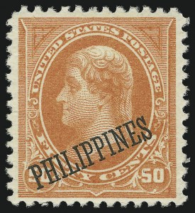Sale Number 905, Lot Number 3835, Philippines1899, 50c Orange (212), 1899, 50c Orange (212)
