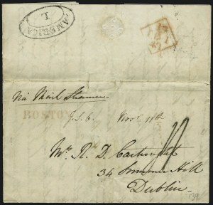 "Sale Number 906, Lot Number 1030, U.S. Exchange Office and Transit Markings""BOSTON"" British Agent's Handstamp, ""BOSTON"" British Agent's Handstamp"