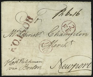 Sale Number 906, Lot Number 1254, Colonial and 18th Century Postal HistoryBOSTON, BOSTON