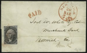"Sale Number 906, Lot Number 1423, PostmastersNew York N.Y., 5c Black on Blue, ""ACM"" Initials (9X2), New York N.Y., 5c Black on Blue, ""ACM"" Initials (9X2)"