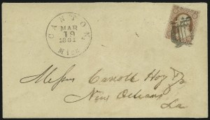 Sale Number 907, Lot Number 2508, Independent and Confederate State UsagesCanton Miss. Mar. 19, 1861, Canton Miss. Mar. 19, 1861
