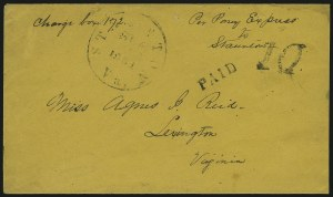 "Sale Number 907, Lot Number 2534, Express Company Usages""Per Pony Express to Staunton, ""Per Pony Express to Staunton"