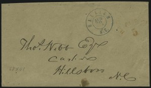 Sale Number 907, Lot Number 2755, Postmasters` ProvisionalsRaleigh N.C., 5c Red entire (68XU1), Raleigh N.C., 5c Red entire (68XU1)