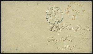 Sale Number 907, Lot Number 2757, Postmasters` ProvisionalsRaleigh N.C., 5c Red entire (68XU1), Raleigh N.C., 5c Red entire (68XU1)