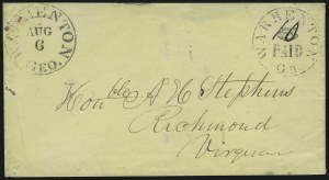 Sale Number 907, Lot Number 2769, Postmasters` ProvisionalsWarrenton Ga., 10c (ms.) on 5c Black entire (89XU2), Warrenton Ga., 10c (ms.) on 5c Black entire (89XU2)