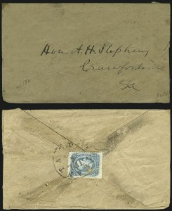 Sale Number 907, Lot Number 2927, General Issues On-Cover (Nos. 11-12)10c Blue, Die B, Perforated (12f), 10c Blue, Die B, Perforated (12f)
