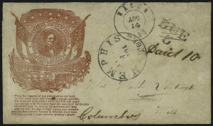 Sale Number 907, Lot Number 2954, Forwarded, Missent and Advertised UsagesMemphis Ten. Aug. 8, 1861, Memphis Ten. Aug. 8, 1861