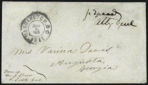 Sale Number 907, Lot Number 3072, Flag-of-Truce and PrisonersJefferson Davis as Prisoner of War to his Wife, Jefferson Davis as Prisoner of War to his Wife
