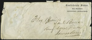 Sale Number 907, Lot Number 3076, Flag-of-Truce and PrisonersConfederate States, Navy Department, Official Business, Confederate States, Navy Department, Official Business