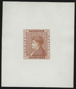 Sale Number 909, Lot Number 1003, PostmastersGavit & Co., 5c Scarlet, Franklin Die Essay on White Glazed (1Xa-E1e), Gavit & Co., 5c Scarlet, Franklin Die Essay on White Glazed (1Xa-E1e)