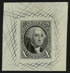 Sale Number 909, Lot Number 1006, Postmasters10c Black, Large Die Proof on Bond (2Pa), 10c Black, Large Die Proof on Bond (2Pa)
