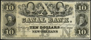 Sale Number 909, Lot Number 1009, 1851-56 Issue (Canal Bank Note)Canal Bank, The New Orleans Canal Banking Company, Canal Bank, The New Orleans Canal Banking Company