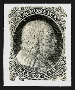 "Sale Number 909, Lot Number 1048, 1851-56 Issue (Toppan, Carpenter, Casilier & Co.)Toppan, Carpenter, Casilier & Co., 1c Black, Die Essay on India, ""Six Cents"" (5-E2), Toppan, Carpenter, Casilier & Co., 1c Black, Die Essay on India, ""Six Cents"" (5-E2)"
