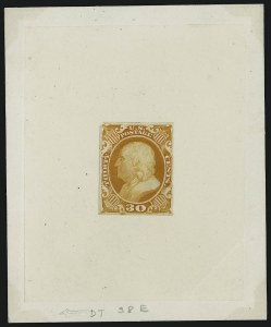 Sale Number 909, Lot Number 1059, 1851-56 Issue (Toppan, Carpenter, Casilier & Co.)30c Yellow Orange, Hybrid Large Die Proof on India (46P1 var), 30c Yellow Orange, Hybrid Large Die Proof on India (46P1 var)